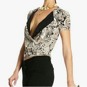 BCBG Silk Alvie Snakeskin Print Top